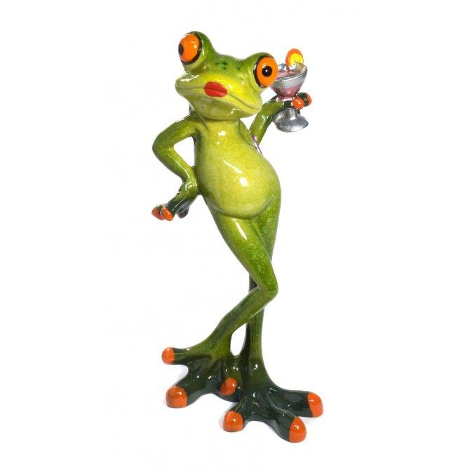 Frosch mit Drink und Handtasche