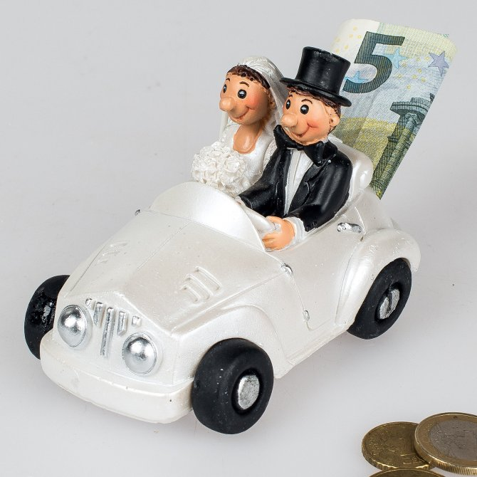 Spardose Brautpaar im Auto