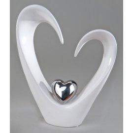 Deko-Herz offen weiß-silber