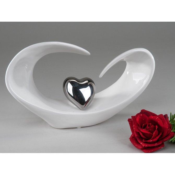 Deko-Herz offen weiß-silber flach