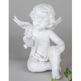 Engel sitzend mit Vogel
