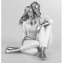 Paar sitzend nebeneinander weiß-silber