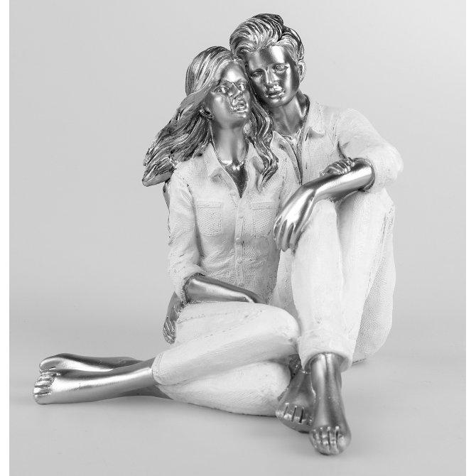 Paar sitzend weiß-silber