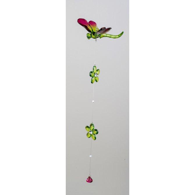 Hängedeko Acryl Libelle grün-rot