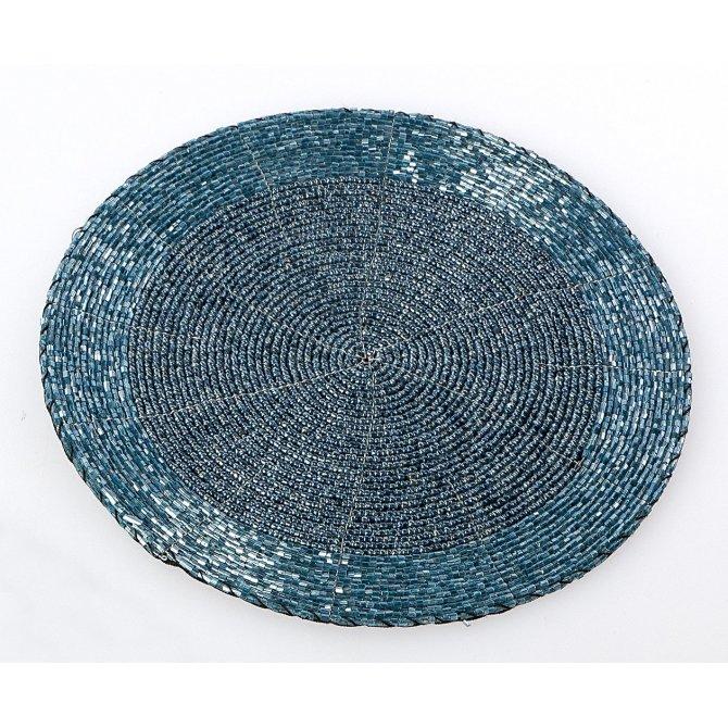Untersetzer/Platzset Perlen eisblau