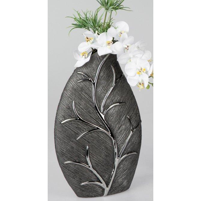Vase Baumstruktur silber hoch