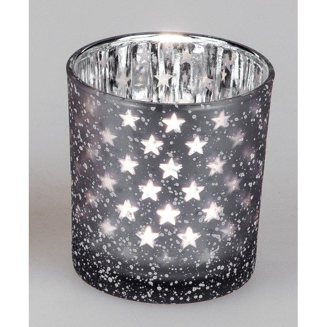 Windlicht mit Sternen 8cm Frosty