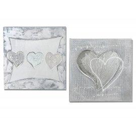 Wandbild Herz silber 40x40