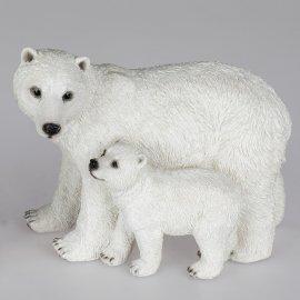 Eisbär mit Kind 27cm