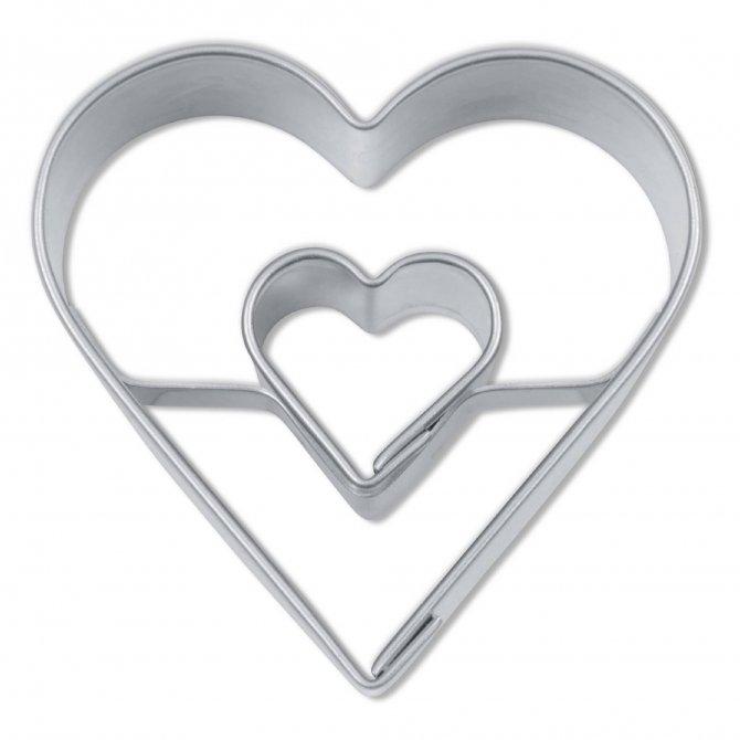 Ausstecher Herz in Herz Edelstahl