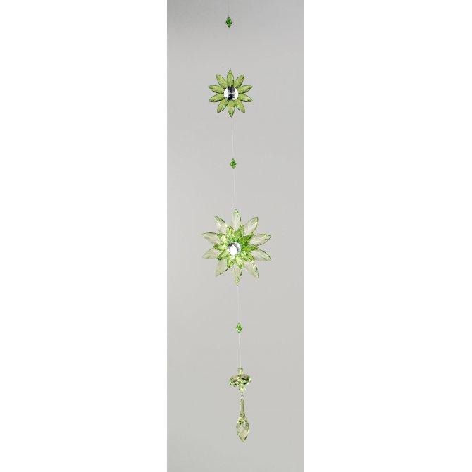 Girlande Acryl Blume grün-rot 65cm