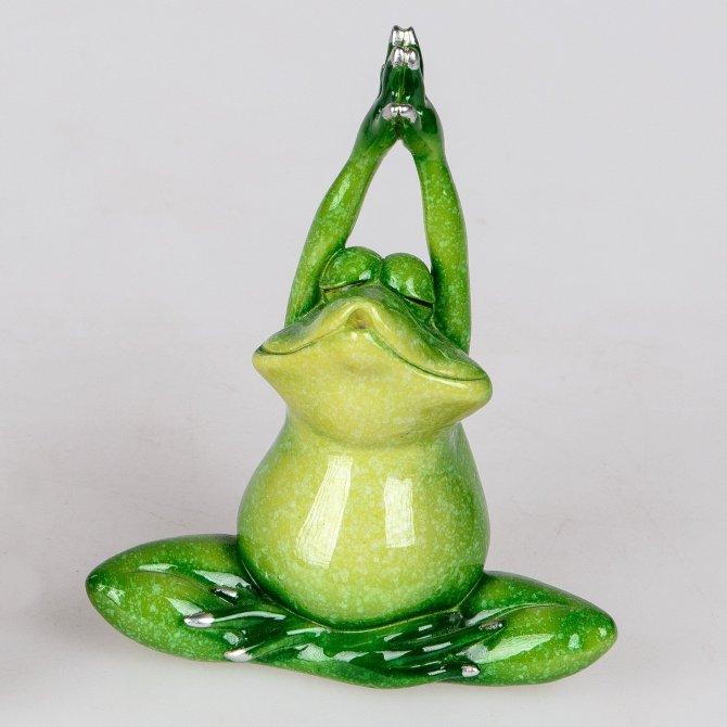 Frosch Rudi Yoga Hände oben