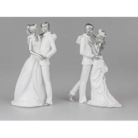 Tanzendes Brautpaar 26cm weiß-silber