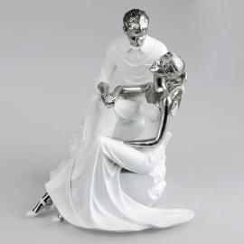 Paar auf Stein weiß-silber