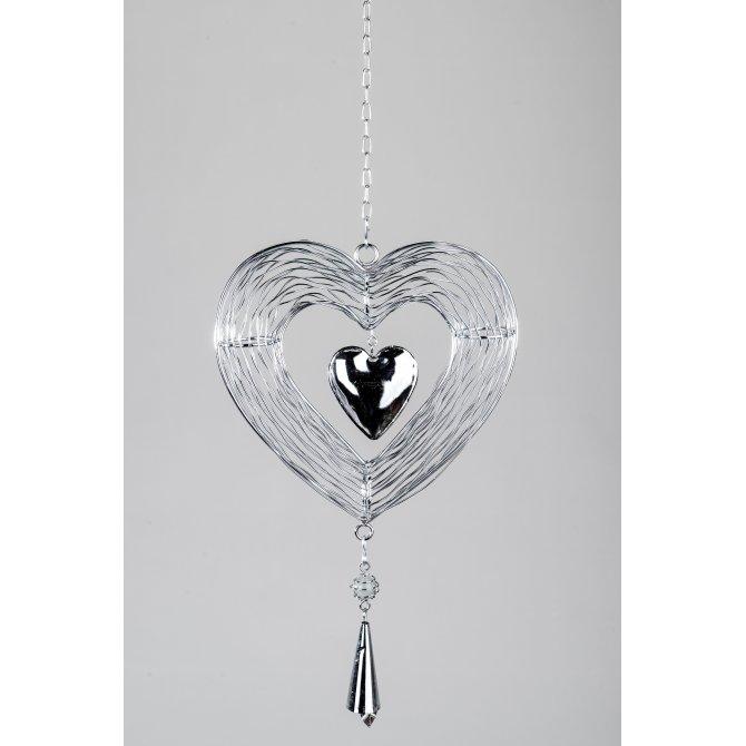 Dekohänger Herz Metall Silber Trend