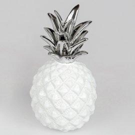 Deko-Ananas bauchig weiß-silber