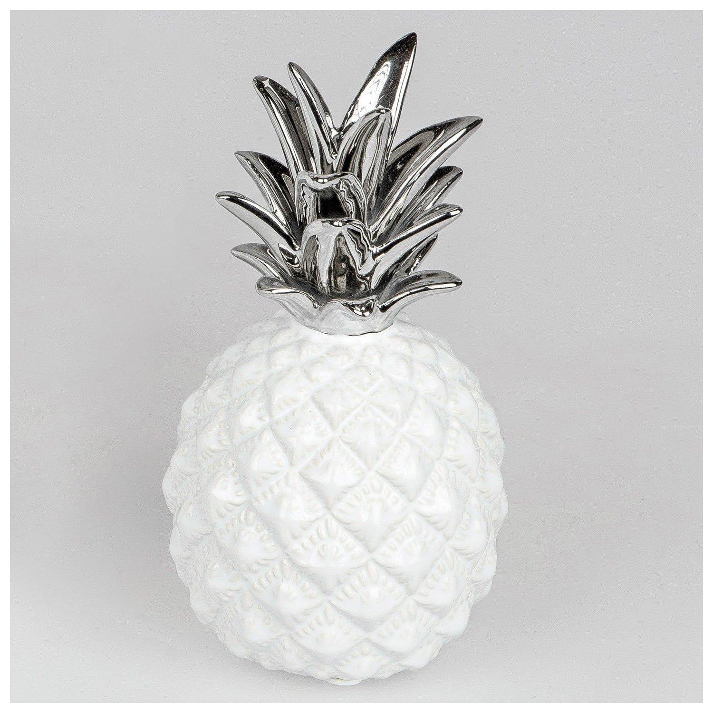 deko ananas bauchig wei silber geschenkhaus bellm. Black Bedroom Furniture Sets. Home Design Ideas