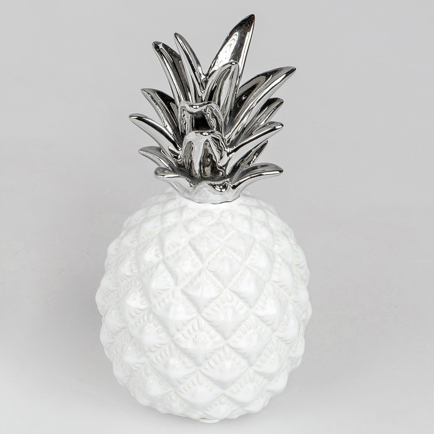 Deko Weiß Silber.Deko Ananas Bauchig Weiß Silber Geschenkhaus Bellm