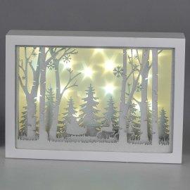 Winterwald Nikolaus mit Schlitten 30cm mit LED