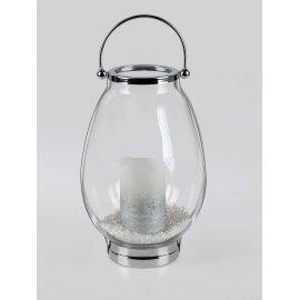 Laterne 34cm Glas Silber-klar