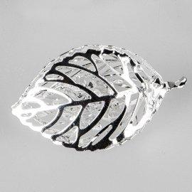 Deko-Blatt 5cm silber-Kristall