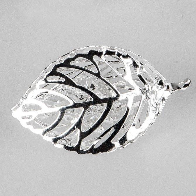 Deko-Blatt 5cm silber Kristall
