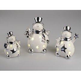 Schneemann mit LED weiß-silber