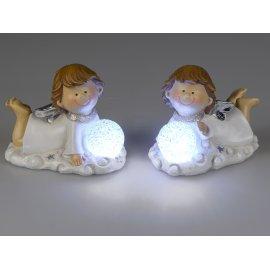 Engel Lisa 15cm mit LED weiß-silber