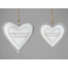 Herz Metall grau-weiß