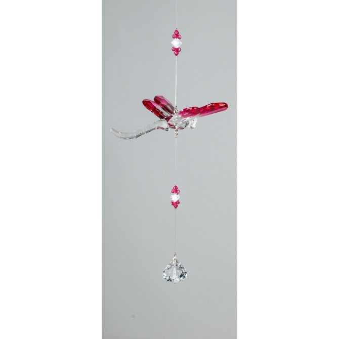 Hänger Libelle 34cm Acryl klar-rosa