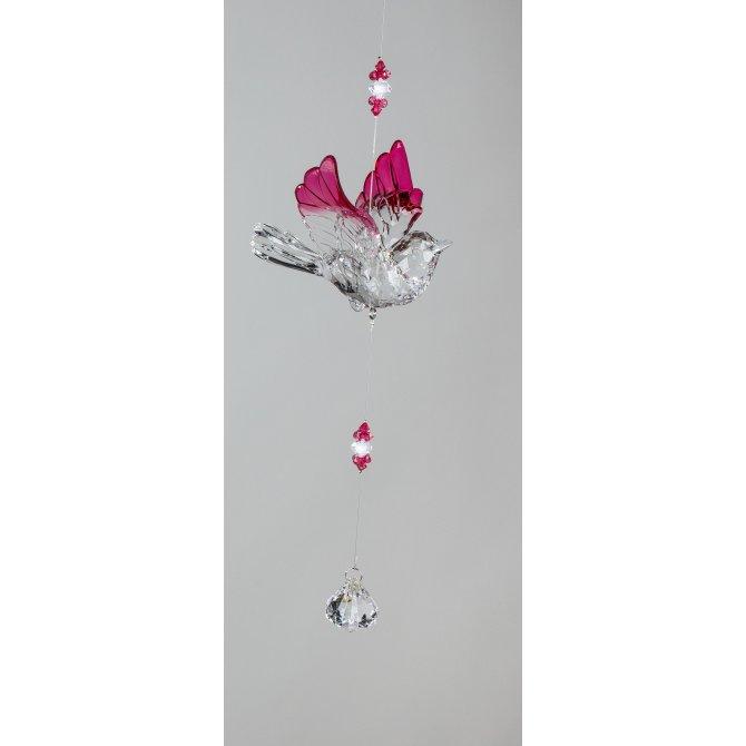 Hänger Vogel 34cm Acryl klar-rosa