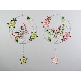 Hängerdeko Schmetterling 36cm Glas grün-rosa