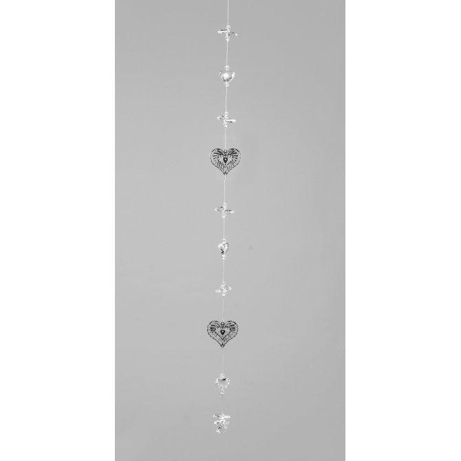 Deko-Kette 2er Herz-Kristall 60cm