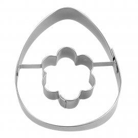 Ausstecher Ei mit Blume 7cm Edelstahl