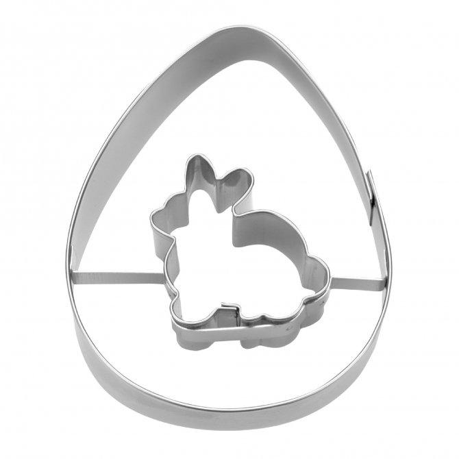 Ausstecher Hase mit Ei 7cm Edelstahl