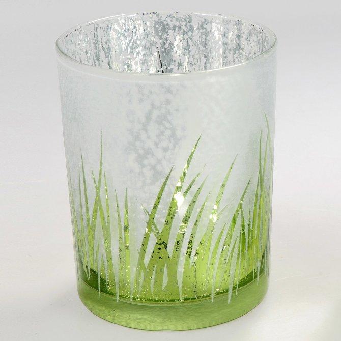 Windlicht 14cm Gräser