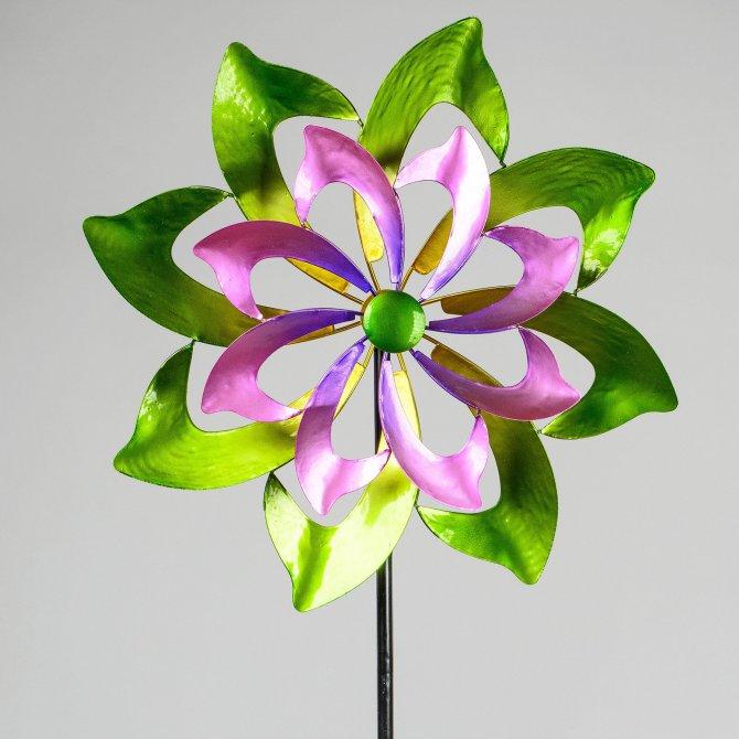 Windrad blume rosa-grün Metall