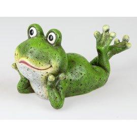 Frosch liegend 40cm grün-matt