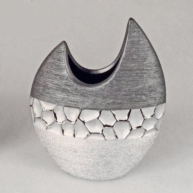 Vase flach silber-grau