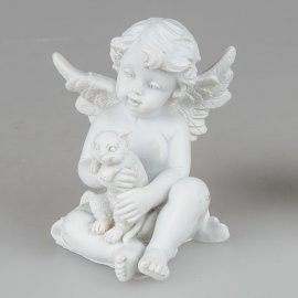 Engel sitzend mit Katze