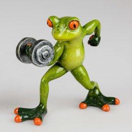 Frosch mit Hantel und Pose