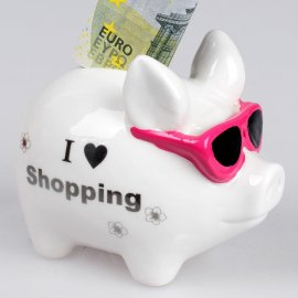 Sparschwein 11cm I love shopping