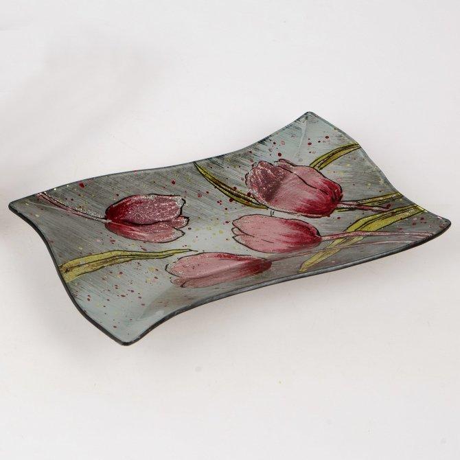 Dekoteller 25x15cm Pink-Tulpen