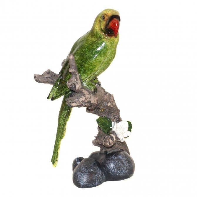 Papagei auf Zweig 17cm