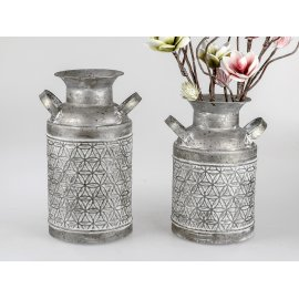 Deko Milchkanne Metall grau-weiß
