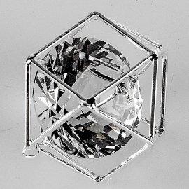Dekowürfel 3cm silber-Kristall