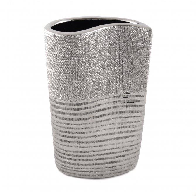 Vase silber oval Streifen