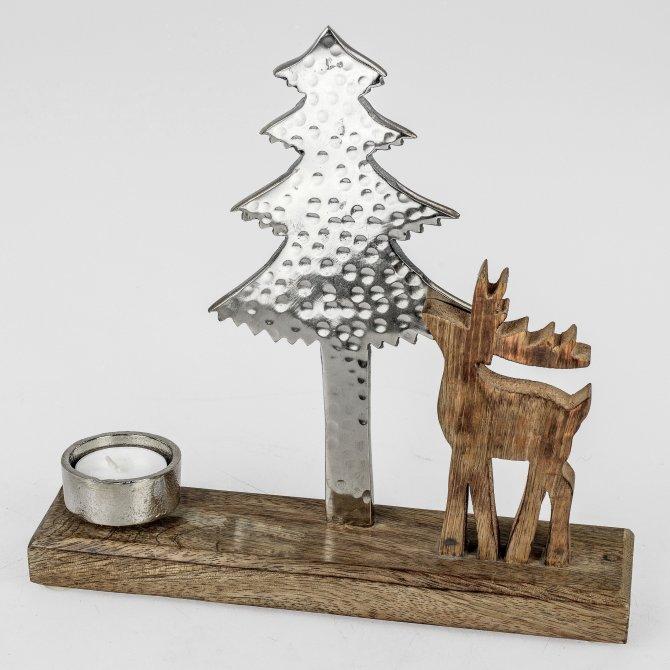 Tischlicht Rentier Alu Mango-Holz