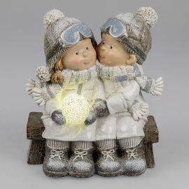 Kinder Paar mit LED 24cm Wintersportler