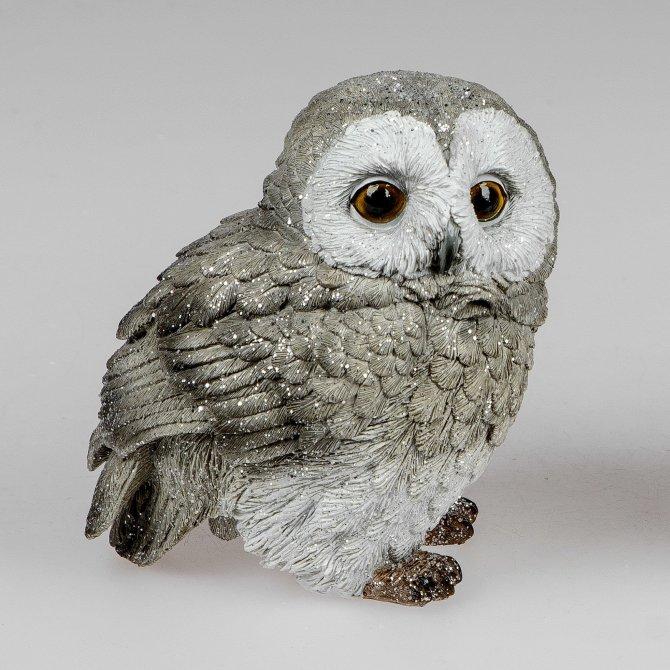 Eule 16cm grau-weiß